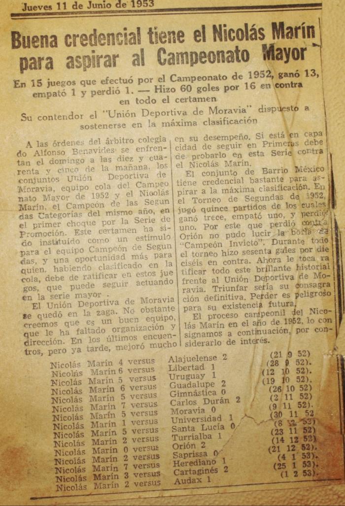 La República 11 de junio de 1953 sobre repechaje del Dep. Nicolás Marín y la Unión Deportiva Moravia