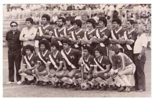 Equipo campeón de segunda división de 1980 con el entrenador