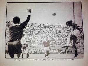 Deportivo México vs Saprissa en los 70´s. Del libro Época de oro del fútbol tico. (Naranjo, Fernando. P, 366. 1988).