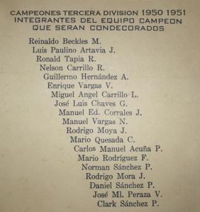 Lista campeones integrantes 1950